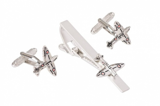 Spitfire Cufflinks and Tie Clip Set